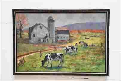 O / C  -   Dairy Barn With Cows Scene artist  -  Ru