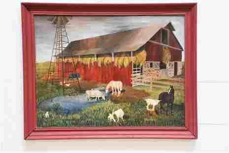 O / C - Farm Scene artist - Dorothy Moore /