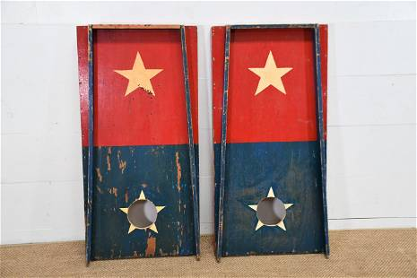 """Pair of Red/White/Blue Carnival Ball Toss Games 48"""" x"""