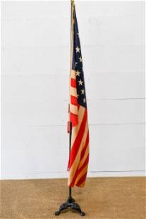 "USA Flag - 50 Star w/ Pole and Base flag - 55"" x"