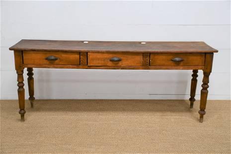 "Amish School House Desk w/ Ink Wells/ Drawers 31""H,"