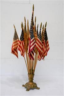 """Iron and Wood Painted Flag Holder w/ Flags 39""""H, 9"""""""