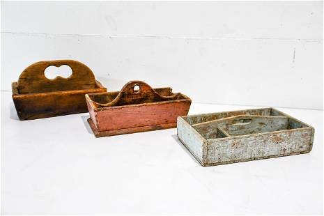 """3pc. Lot of Early Wooden Totes 7""""H, 14"""" x 9"""" /"""