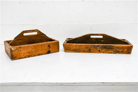 """2pc. Lot of Wooden Totes 11""""H, 20"""" x 14"""" /"""