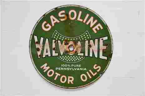 "DSP Valvoline Gasoline / Motor Oils Sign 41 1/2"" diam."