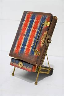 """Early Patriotic Photo Album on Stand 15""""H, 8"""" x 8"""
