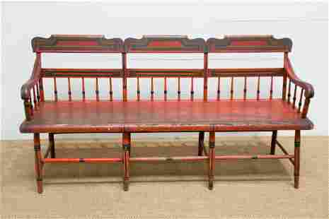 """Early Pa. Painted Settee 35""""H, 68"""" x 22"""""""