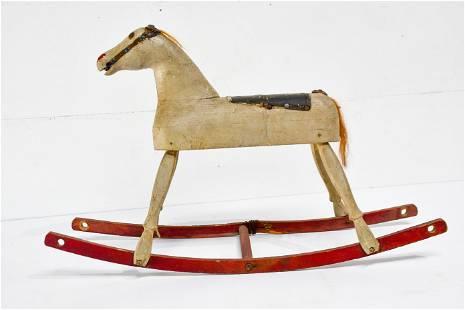 """Child's Rocking Horse w/ Repair 20""""H, 32"""" x 9"""""""