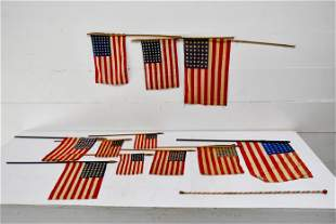 12pc. Patriotic Lot 11 hand held parade flags / 1