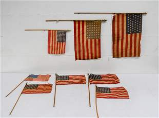8pc. Lot of 48 Star USA Parade Flags