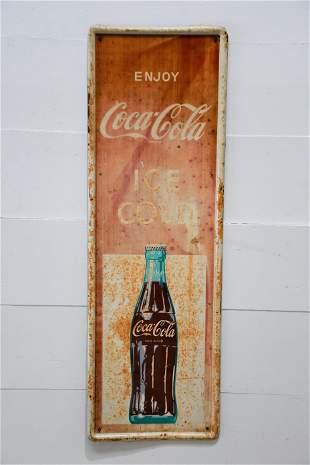 "Coca - Cola ""Ice Cold"" Sign - metal 53"" x 17 3/4"""