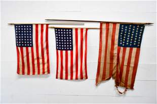 3pc. Lot of 48 Star USA Parade Flags