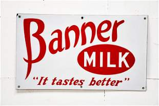 """Banner Milk Sign - porcelain 14"""" x 24"""""""