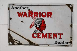 "Warrior Cement Dealer Sign - porcelain 24"" x 36"""