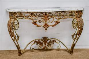 """French Wrought Iron Marble Top Console 39""""H, 61"""" x"""