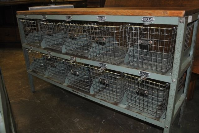1: Locker Basket Unit with Wood Top X2 - 2
