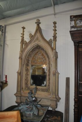 160: French Carved Gothic Mirror
