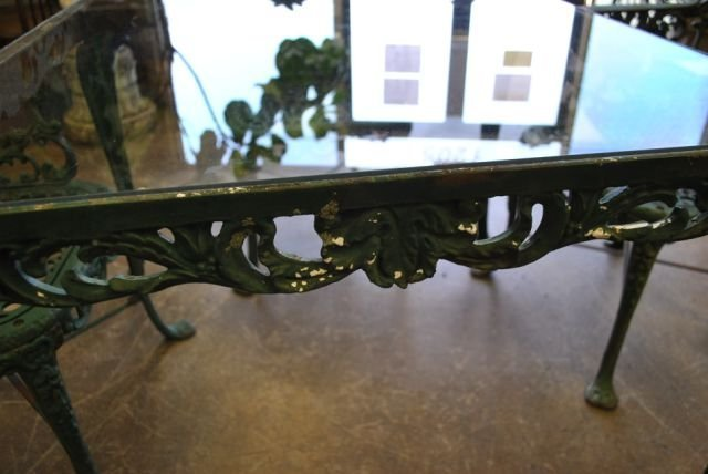 Cast Iron Garden Table with Glass Top
