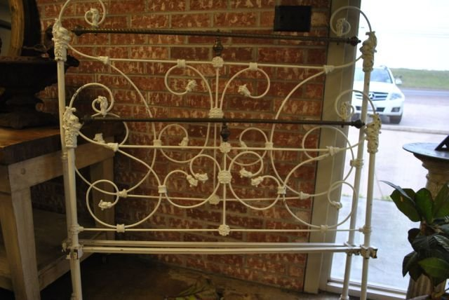 White Painted Brass and Iron Bed