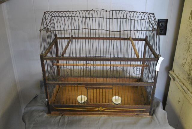 Early Tole Painted Bird Cage