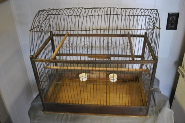 Early Tole Painted Bird Cage - 3