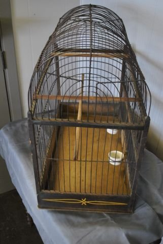 Early Tole Painted Bird Cage - 4