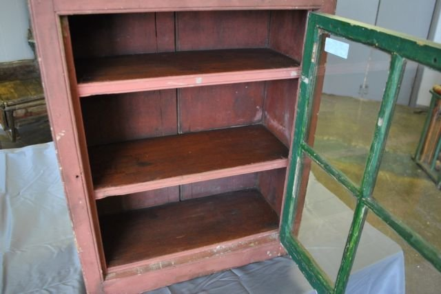Early Painted Hanging Cupboard - 4
