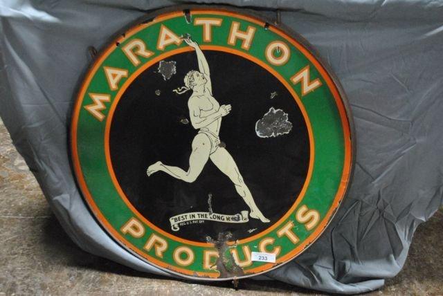 Marathon Sign- Double Sided- Porcelain