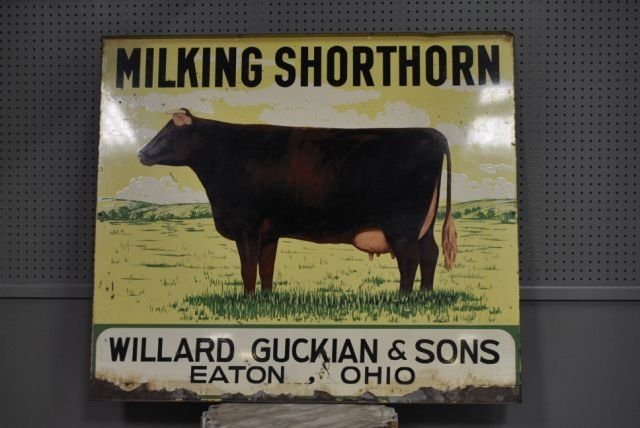 "Milking Shorthorn Dairy Sign- Double Sided- Tin 42""T,"