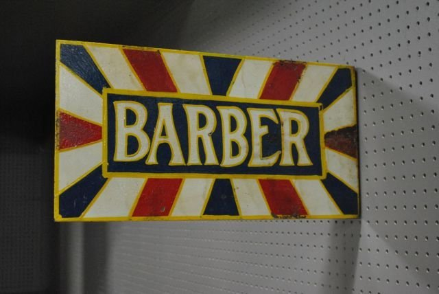 "Double Sided Flange Barber Sign-Tin 11 1/4""T, 22""L"