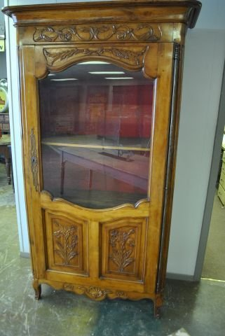 "Country French Carved Fruit Wood Cabinet 78 3/4""T, 38"