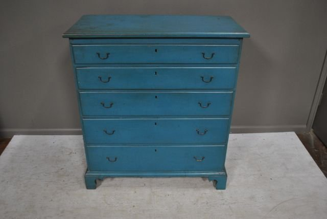 "Early 19th c. Blue Painted Chest from NH 41 1/2""T,"