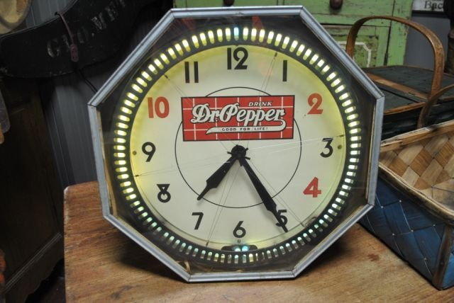 Neon Dr. Pepper Clock- Lighted- Working