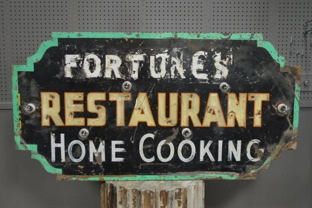 "Lighted Restaurant Sign- Double Sided- Tin 28""H, 53"