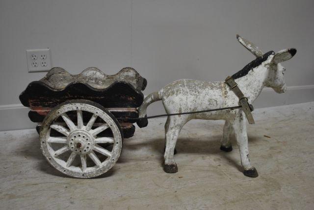 Concrete Donkey And Wagon