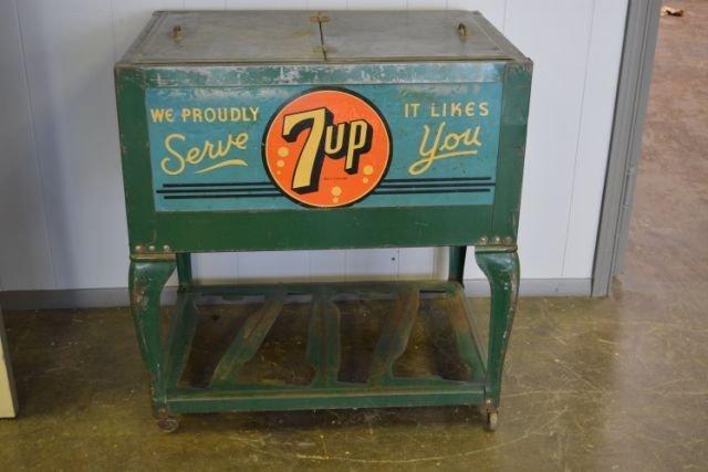 "7Up Cooler 33 1/2""H, 32""L, 22""W"