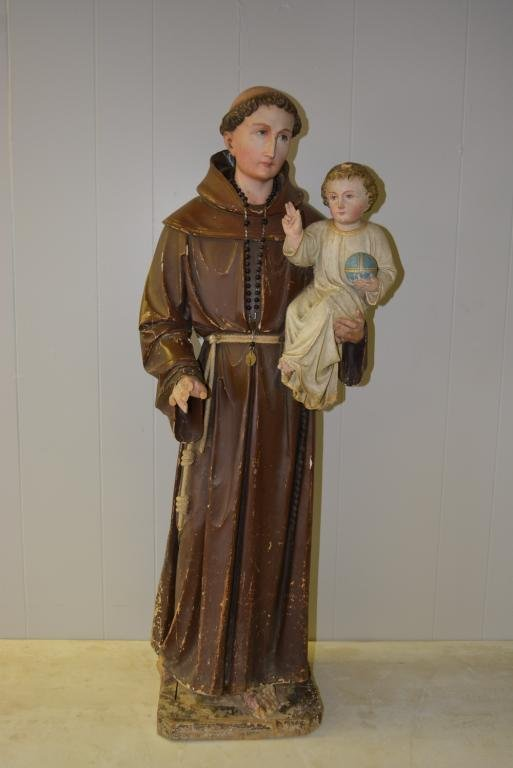 """Wood Saint Carved Statue c.19th 40 1/2""""H"""