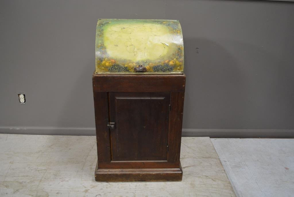 """Dry Sink with Tole Painted Lid 41 1/4""""H, 24""""L(at base),"""