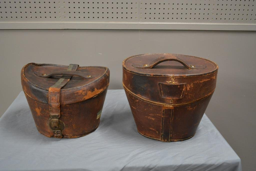 3pc. Lot- Top Hat and 2 Leather Hat Boxes