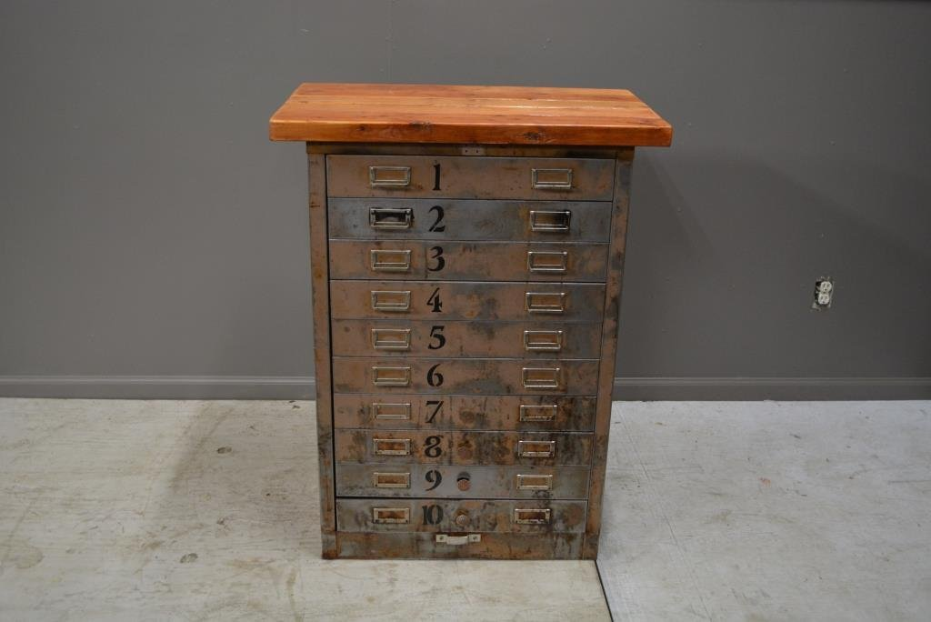 """Industrial Stand with Drawers 38 1/4""""H, 29""""L, 17 1/2""""W"""