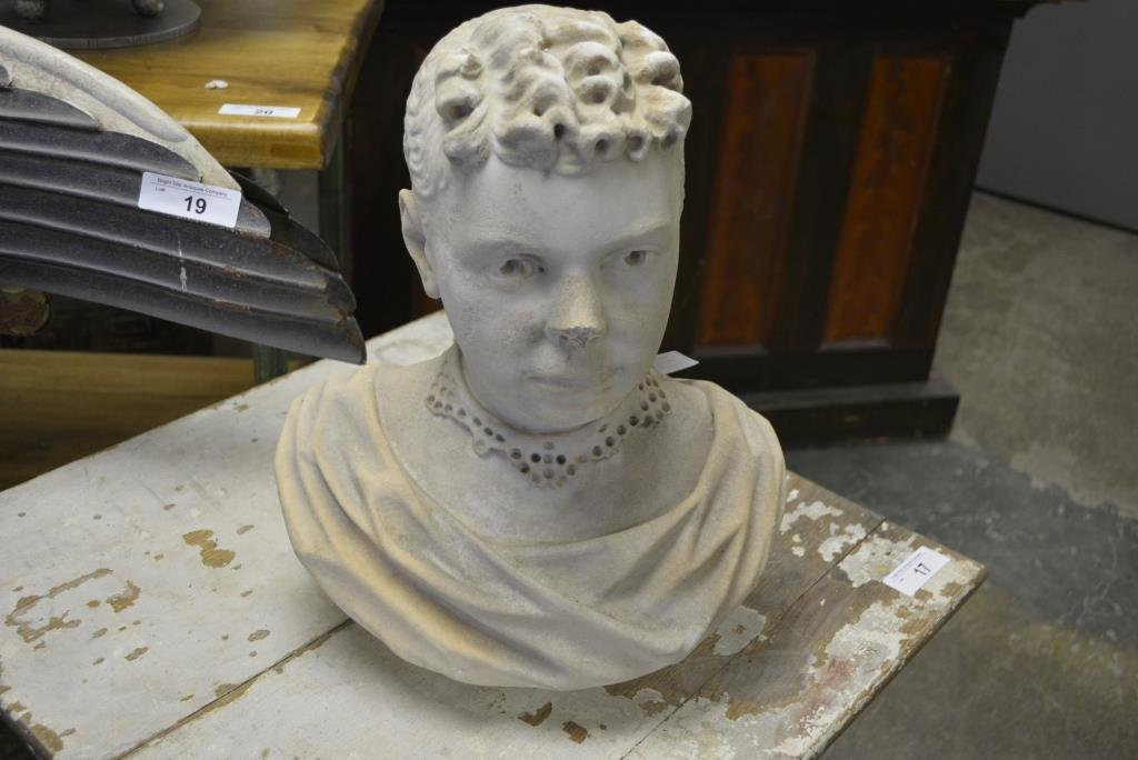"""Marble Bust 17""""H, 13""""L"""