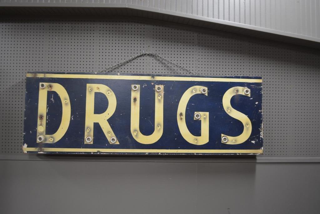 """Lighted Drug Sign 24 1/2""""H, 72 1/2""""L, 3 3/4""""W"""