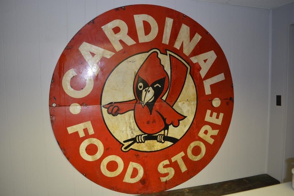 """Cardinal Food Sign- Porcelain 72""""round"""