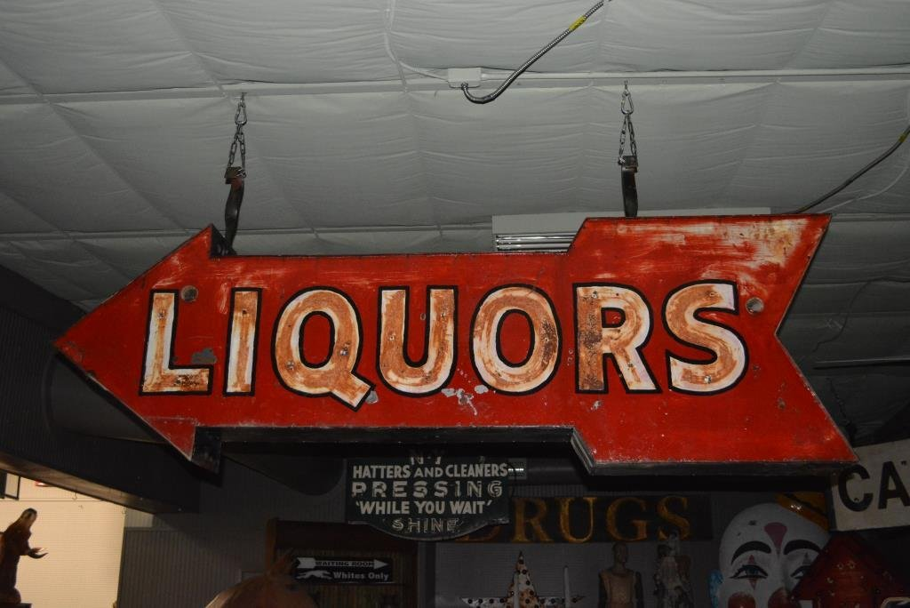 """Liquors Neon Sign- Double Sided 28 1/2""""H, 90 1/2""""L,"""