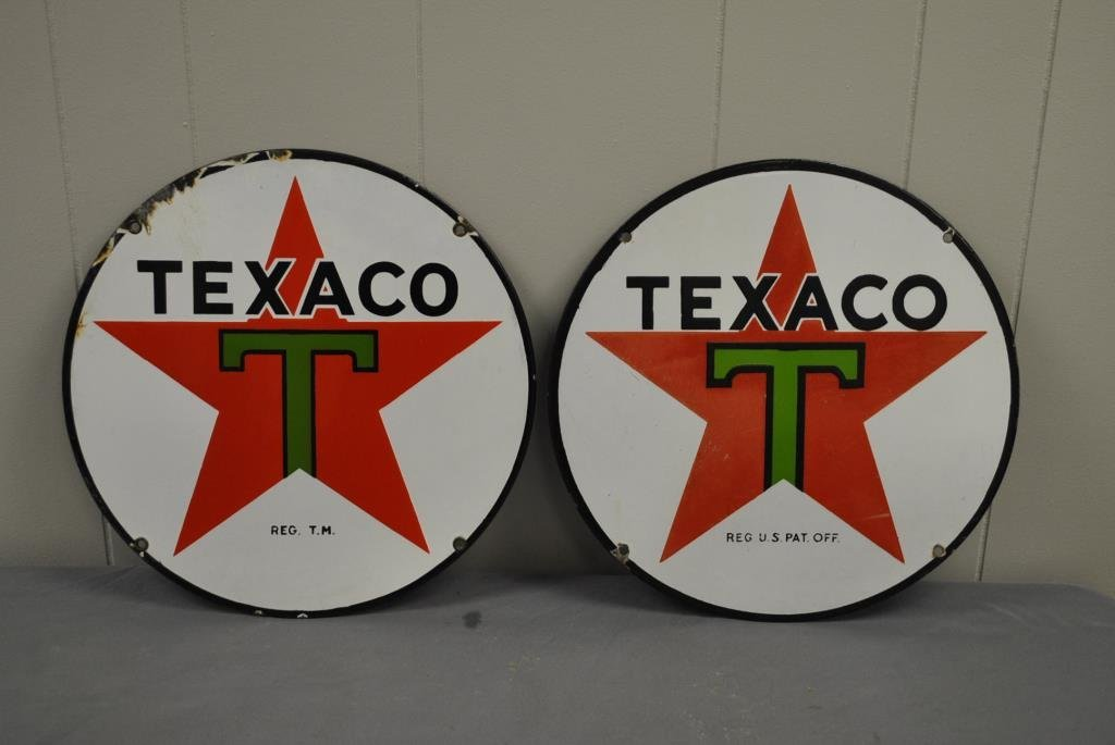 Small Round Texaco Sign- Porcelain X2