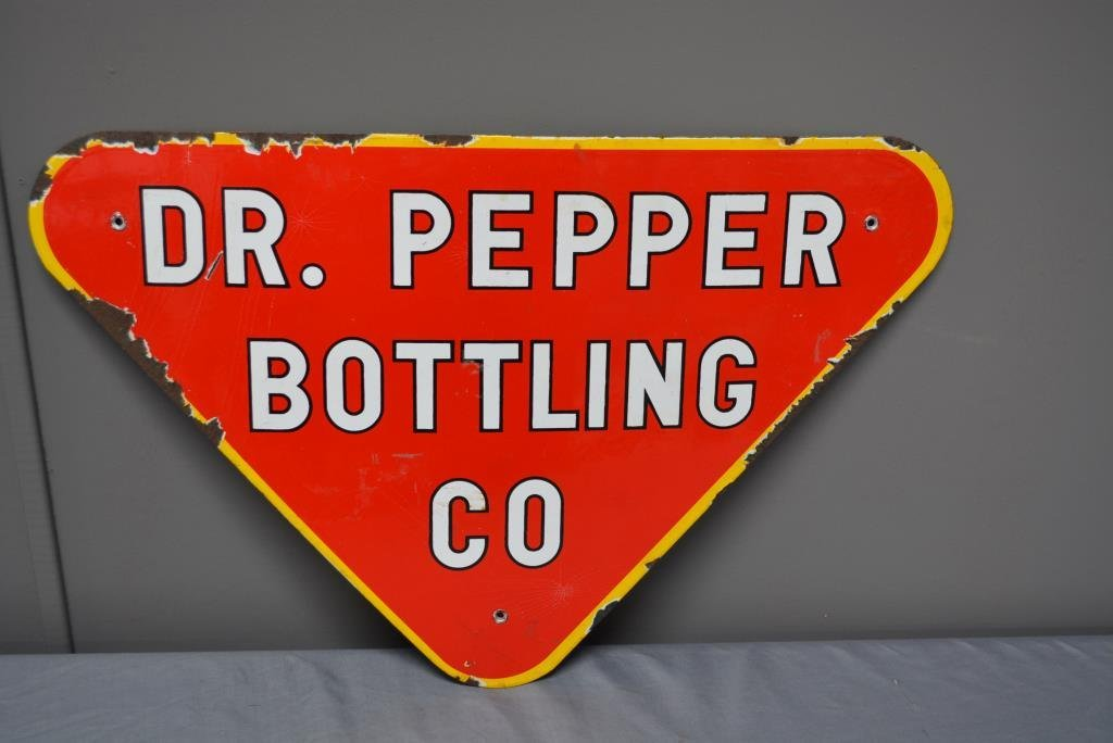 "Procelain Dr. Pepper Bottling Co. Sign 14 1/2"" x  22"""
