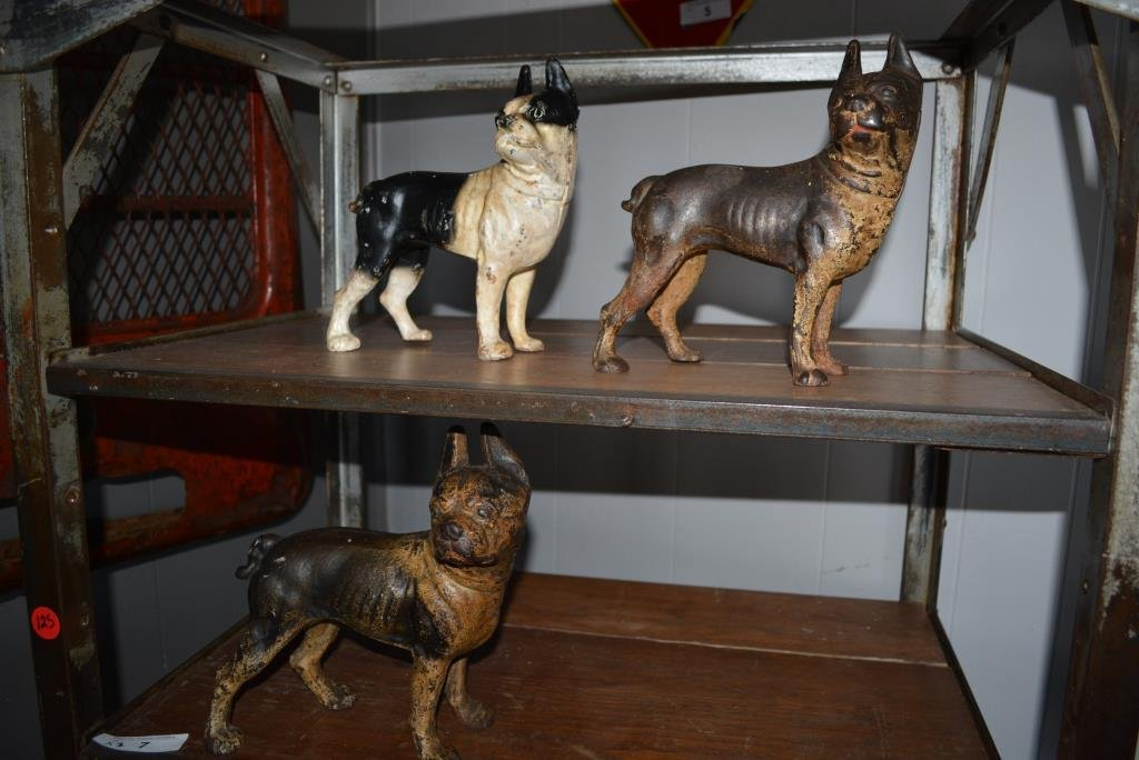 Cast Iron Boston Terrier Door Stop X3