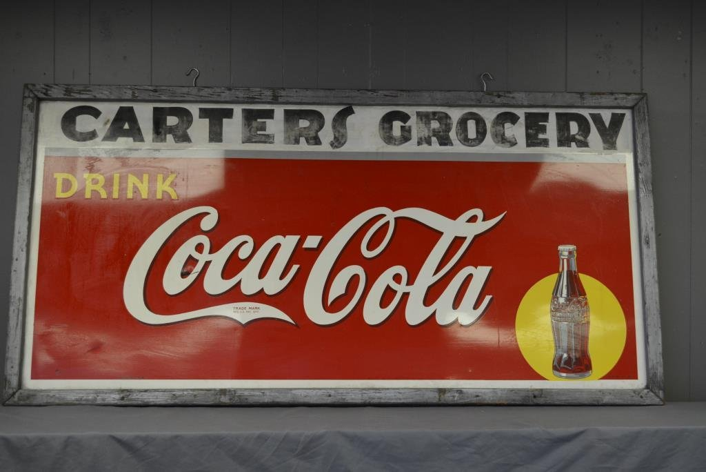 "Coca Cola Sign- Tin Carter's Grocery 35 1/2"" X 71 1/4"""