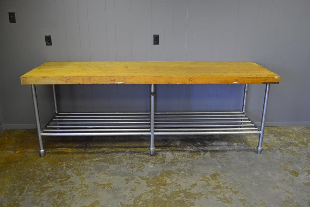 "Butcher Block Top Work Table H- 34"", L- 96"", W- 30 1/2"""