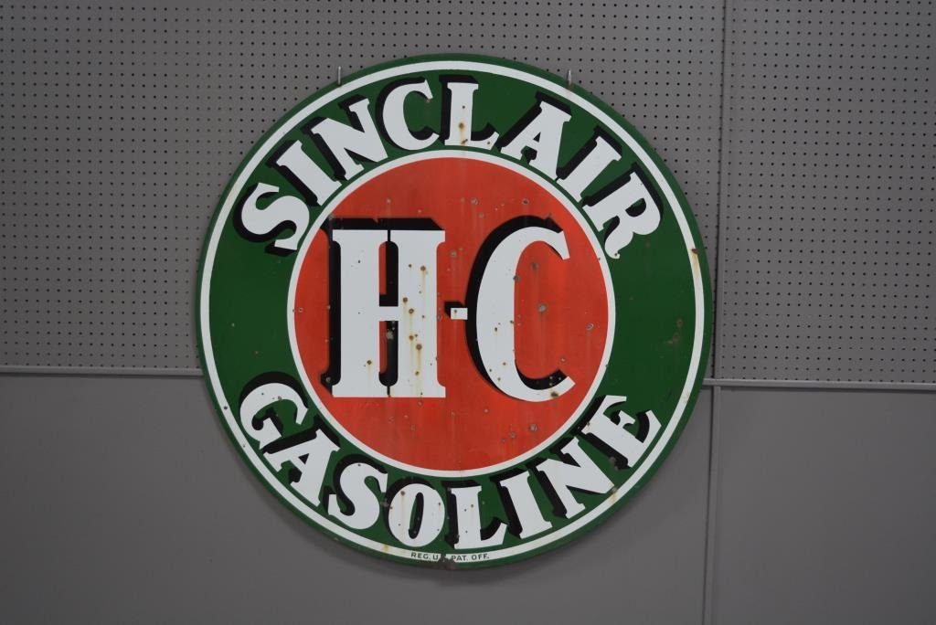 "Double-sided Porcelain Sinclair Gasoline Sign 48"" round"